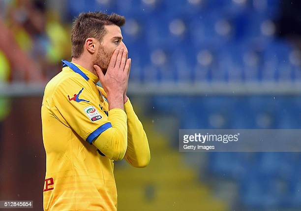 Daniel Ciofani of Frosinone Calcio stands disappointed during the Serie A match between UC Sampdoria and Frosinone Calcio at Stadio Luigi Ferraris on...