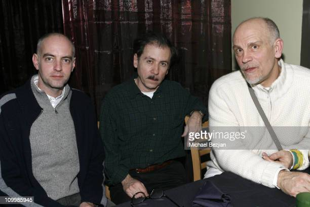 Daniel Clowes, writer, Terry Zwigoff, director, and John Malkovich at the Heineken Green Room