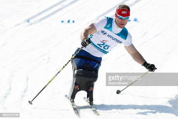 Daniel Cnossen of the United States competes in the Men's 15km Sitting CrossCountry event at Alpensia Biathlon Centre during day two of the...