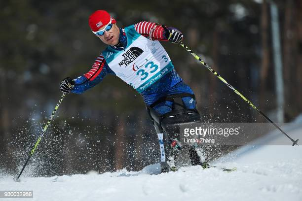 Daniel Cnossen of the United States competes in the Men's 75 KM Sitting Biathlon event at Alpensia Biathlon Centre during day one of the PyeongChang...