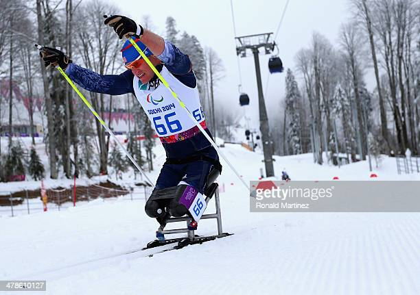 Daniel Cnossen of United States competes in the Men's 125km Sitting Biathlon during day seven of Sochi 2014 Paralympic Winter Games at Laura...
