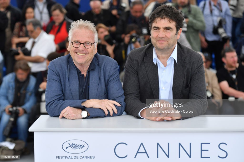 Daniel Cohn-Bendit and director Romain Goupil (R) attend 'La Traversee' Photocall during the 71st annual Cannes Film Festival at Palais des Festivals on May 16, 2018 in Cannes, France.