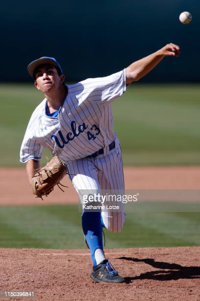 Daniel Colwell of UCLA throws a pitch during a baseball game against University of Washington at Jackie Robinson Stadium on May 19 2019 in Los...