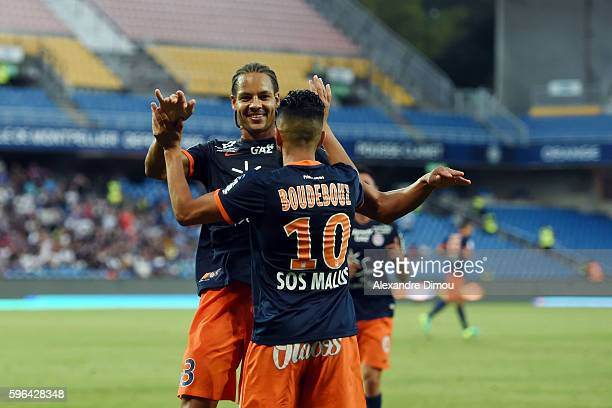 Daniel Congre of Montpellier celebrates his Goal with Ryad Boudebouz of Montpellier during the French Ligue 1 match between Montpellier and Rennes at...