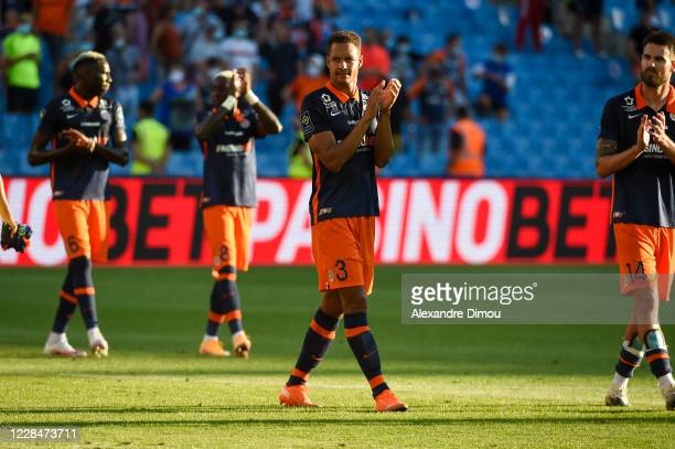 Daniel CONGRE of Montpellier celebrates the victory during the Ligue 1 match between Montpellier and Nice on September 12, 2020 in Montpellier,...