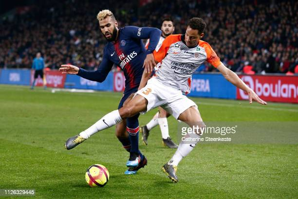 Daniel Congre of Montpellier Herault SC tries to control the ball against Eric Choupo Moting of Paris SaintGermain during the Ligue 1 game between...