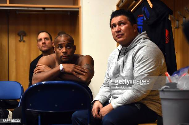 Daniel Cormier and coach Javier Mendez wait backstage during the UFC 210 event at the KeyBank Center on April 8 2017 in Buffalo New York