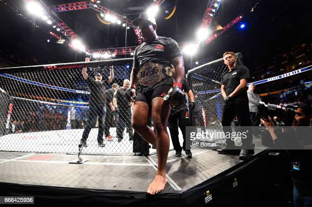 Daniel Cormier celebrates after defeating Anthony Johnson in their UFC light heavyweight championship bout during the UFC 210 event at the KeyBank...