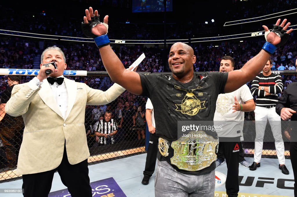 Daniel Cormier celebrates his victory over Stipe Miocic in their UFC heavyweight championship fight during the UFC 226 event inside T-Mobile Arena on July 7, 2018 in Las Vegas, Nevada.