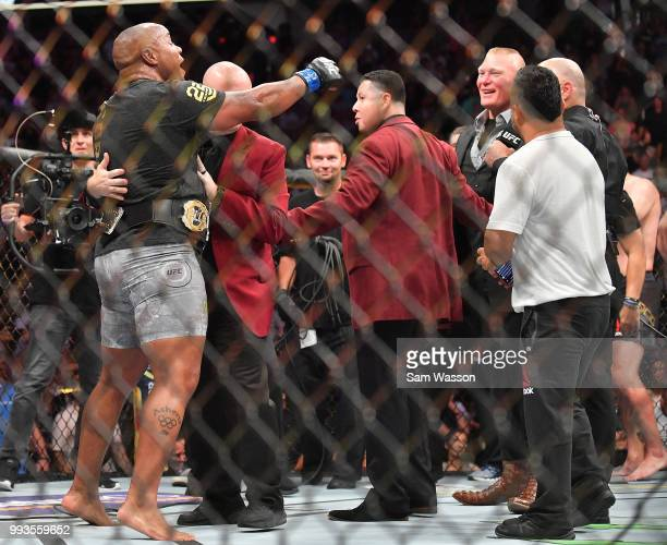 Daniel Cormier challenges Brock Lesnar after winning his heavyweight championship fight against Stipe Miocic at TMobile Arena on July 7 2018 in Las...