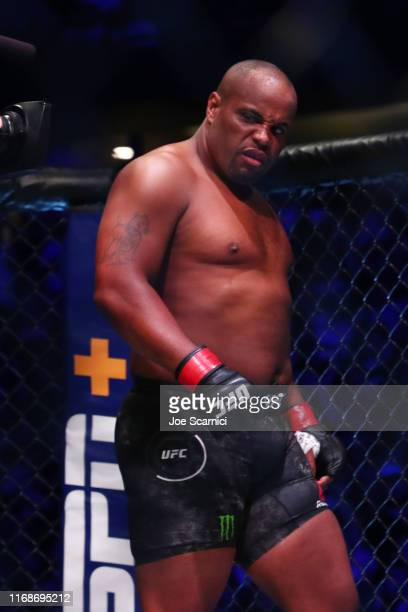 Daniel Cormier enters the ring to fight Stipe Miocic during their UFC Heavyweight Title Bout at UFC 241 at Honda Center on August 17, 2019 in...