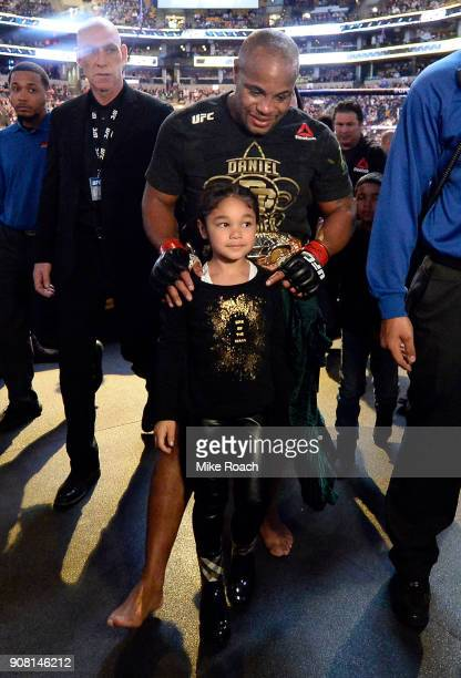 Daniel Cormier exits the arena after defeating Volkan Oezdemir during the UFC 220 event at TD Garden on January 20 2018 in Boston Massachusetts
