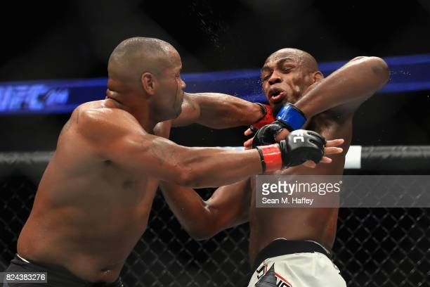 Daniel Cormier fights Jon Jones in the Light Heavyweight title bout during UFC 214 at Honda Center on July 29 2017 in Anaheim California