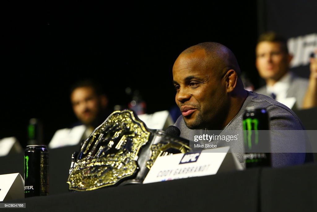 Daniel Cormier interacts with media during the UFC press conference inside at Barclays Center on April 6, 2018 in New York City.