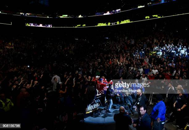 Daniel Cormier prepares to enter the Octagon before facing Volkan Oezdemir of Switzerlandin their light heavyweight championship bout during the UFC...