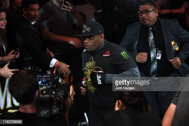 Daniel Cormier prepares to enter the Octagon prior to his heavyweight championship bout against Stipe Miocic during the UFC 241 event at the Honda...