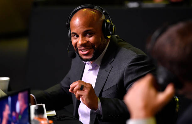 Daniel Cormier provides commentary for the broadcast during the UFC Fight Night event at UFC APEX on May 30, 2020 in Las Vegas, Nevada.