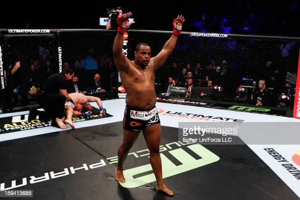 Daniel Cormier reacts after defeating Dion Staring in their heavyweight bout during the Strikeforce event on January 12, 2013 at Chesapeake Energy...