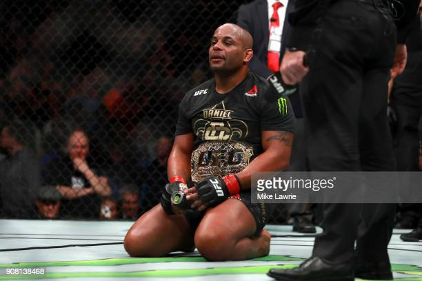 Daniel Cormier reacts after defeating Volkan Oezdemir by TKO in their Light Heavyweight Championship fight during UFC 220 at TD Garden on January 20...