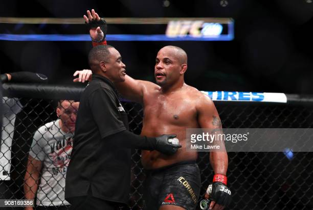 Daniel Cormier reacts after his fight against Volkan Oezdemir in their Light Heavyweight Championship fight during UFC 220 at TD Garden on January 20...