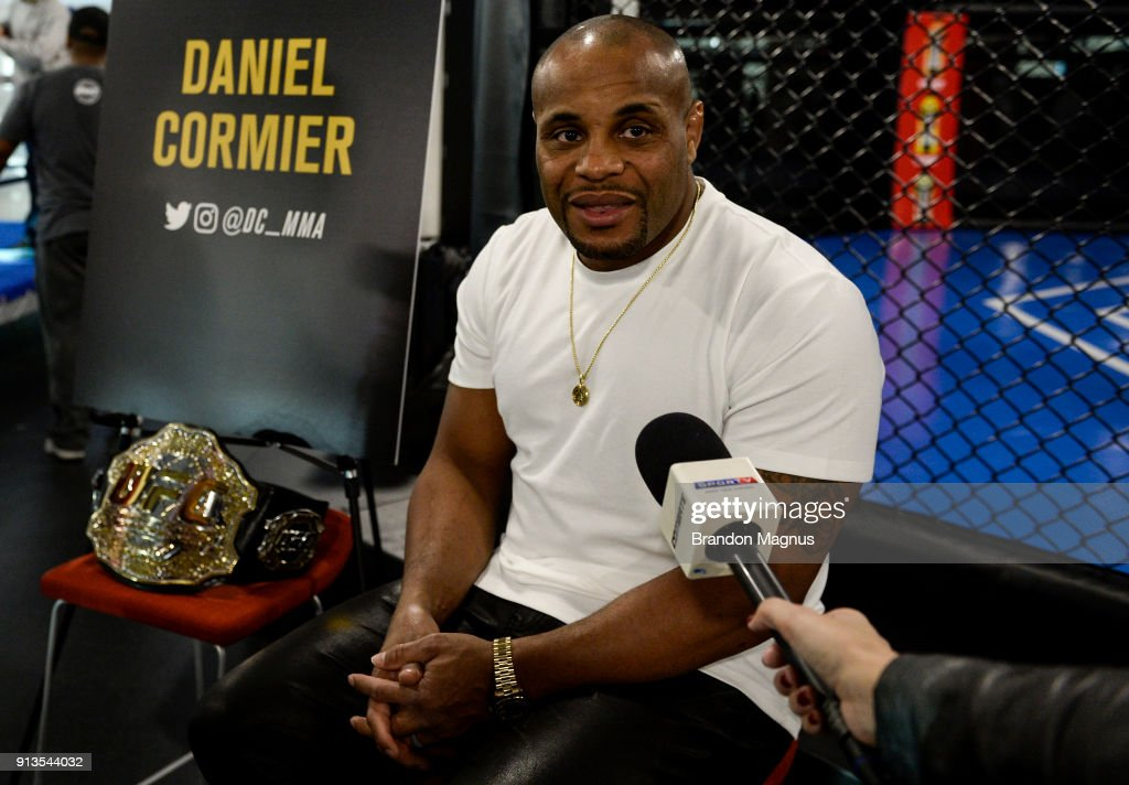 Daniel Cormier speaks to the media during the The Ultimate Fighter: Undefeated Cast & Coaches Media Day inside the UFC Performance institute on February 2, 2017 in Las Vegas, Nevada.