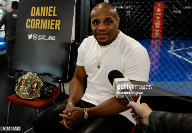 Daniel Cormier speaks to the media during the The Ultimate Fighter Undefeated Cast Coaches Media Day inside the UFC Performance institute on February...
