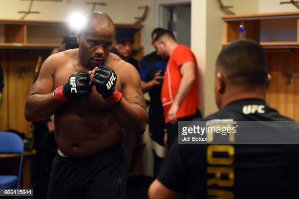Daniel Cormier warms up backstage during the UFC 210 event at the KeyBank Center on April 8 2017 in Buffalo New York