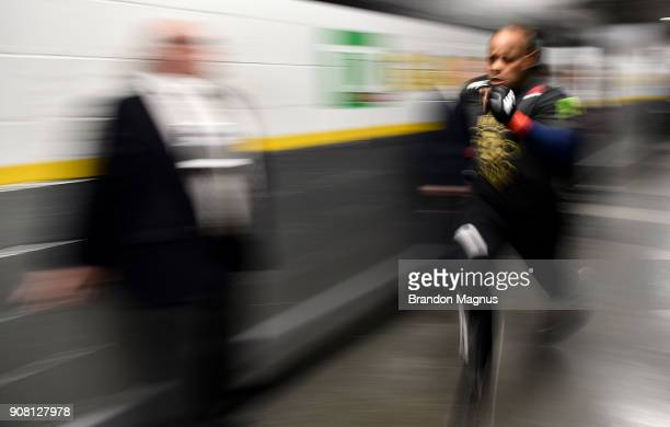 Daniel Cormier warms up backstage during the UFC 220 event at TD Garden on January 20 2018 in Boston Massachusetts