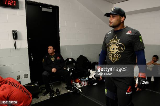 Daniel Cormier warms up backstage prior to his fight with Volkan Oezdemir during the UFC 220 event at TD Garden on January 20 2018 in Boston...