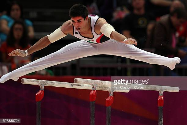 Daniel Corral Barron Mexico in action in the Men's Parallel Bars Final at North Greenwich Arena during the London 2012 Olympic games London UK 7th...