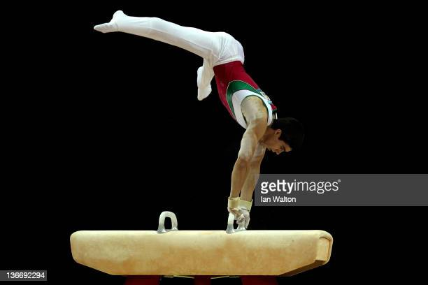 Daniel Corral Barron of Mexico in action on the Pommell Horse during day one of the Men's Gymnastics Olympic Qualification round at North Greenwich...