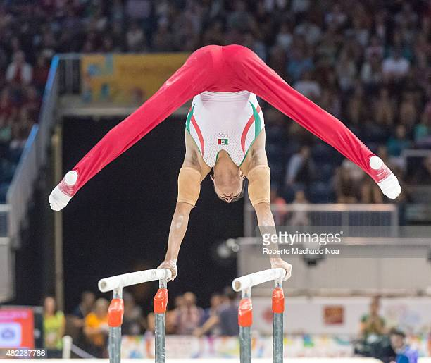 COLISEUM TORONTO ONTARIO CANADA Daniel Corral Barron performs in the parallel bars during the final of the gymnastic artistic competition of the...