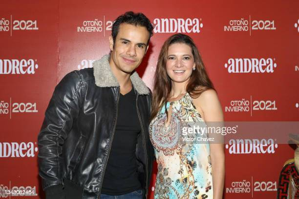 Daniel Cortes and Susana Diazayas attend the presentation of the Fall/Winter collection by Andrea at TV Azteca Ajusco on September 26, 2021 in Mexico...