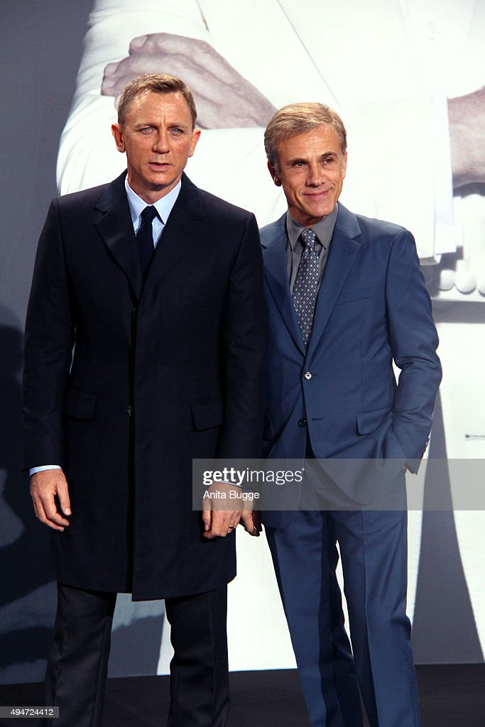 Daniel Craig (L) and Christoph Waltz attend the 'Spectre' Germany premiere in on October 28, 2015 in Berlin, Germany.