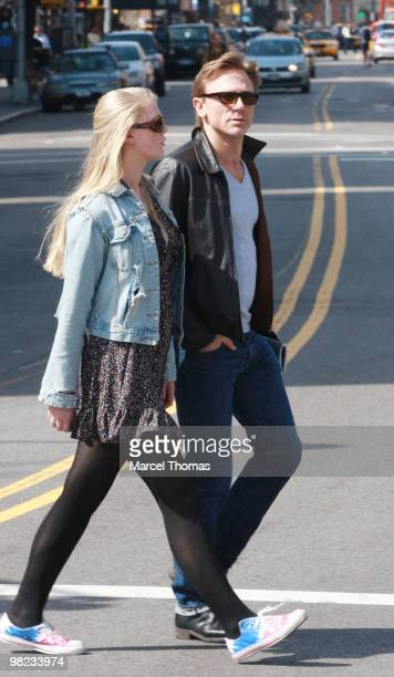 Daniel Craig and daughter Ella Craig are seen walking in the west village on April 3 2010 in New York City