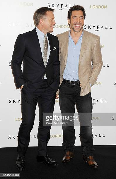Daniel Craig and Javier Bardem attend a photocall for the new James Bond film 'Skyfall' at The Dorchester on October 22, 2012 in London, England.