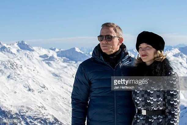 Daniel Craig and Léa Seydoux pose at the photo call for the 24th Bond film 'Spectre' at ski resort on January 7 2015 in Soelden Austria