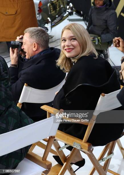 Daniel Craig and Lea Seydoux are seen at Times Square on December 04 2019 in New York City
