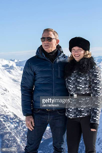 Daniel Craig and Lea Seydoux pose at the photo call for the 24th Bond film 'Spectre' on January 7 2015 in Soelden Austria