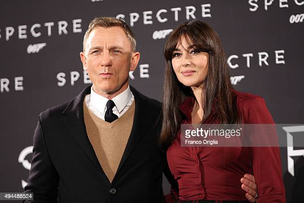 Daniel Craig and Monica Bellucci attend a photocall for 'Spectre' on October 27 2015 in Rome Italy