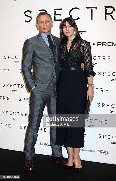 Daniel Craig and Monica Bellucci attend a red carpet for 'Spectre' on October 27 2015 in Rome Italy