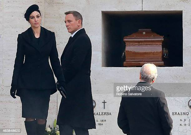 Daniel Craig and Monica Bellucci on set for new bond film 'Spectre' on February 19 2015 in Rome Italy