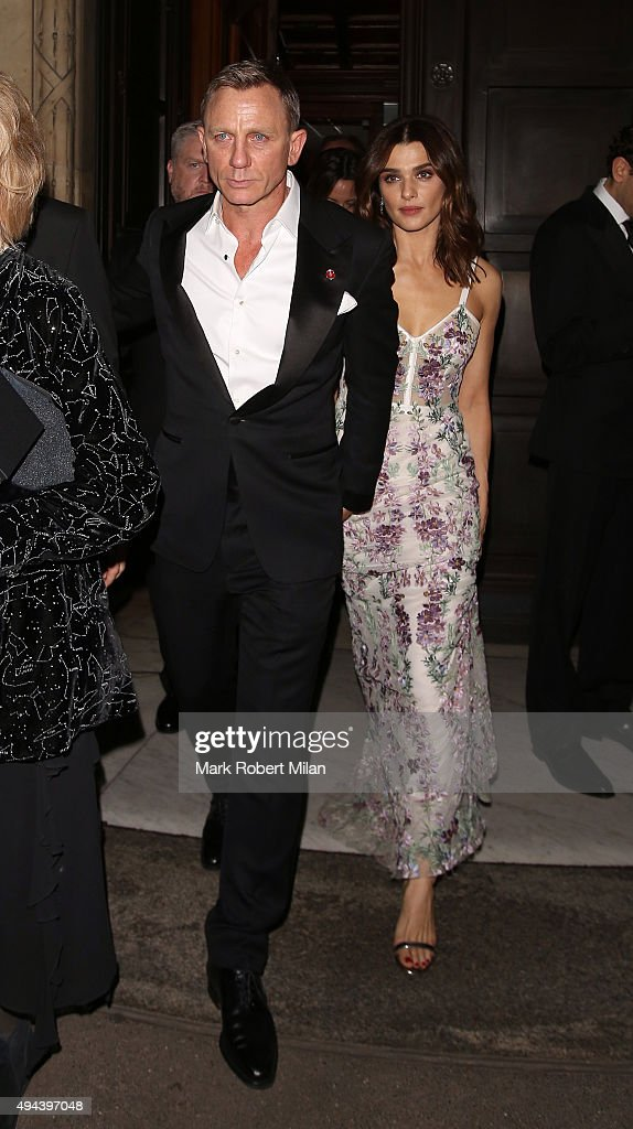 Daniel Craig and Rachel Weisz attending the Spectre Premiere after party at the British Museum on October 26, 2015 in London, England.