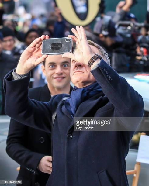 Daniel Craig and Rami Malek are seen in Times Square promoting 'No Time To Die' on Good Morning America on December 04 2019 in New York City
