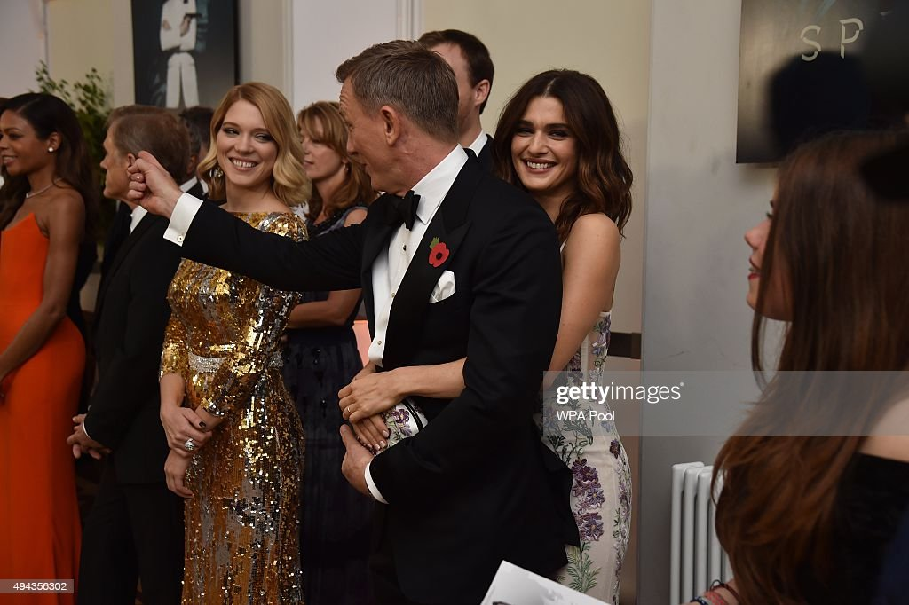 Daniel Craig and wife Rachel Weisz attend The Cinema and Television Benevolent Fund's Royal Film Performance 2015 of the 24th James Bond Adventure, 'Spectre' at Royal Albert Hall on October 26, 2015 in London, England.