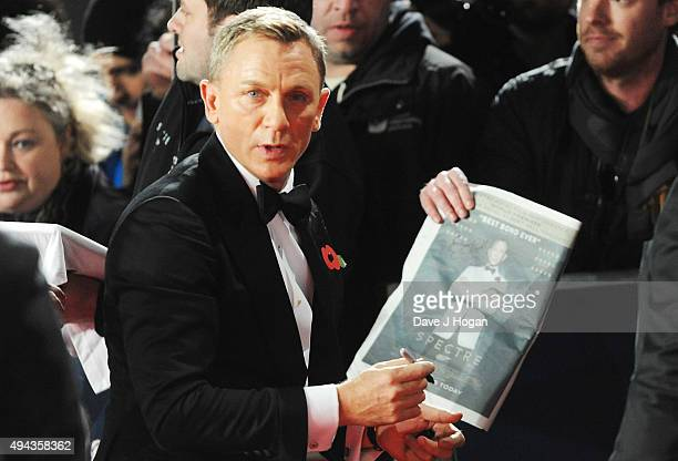 Daniel Craig attends the Royal World Premiere of 'Spectre' at Royal Albert Hall on October 26 2015 in London England