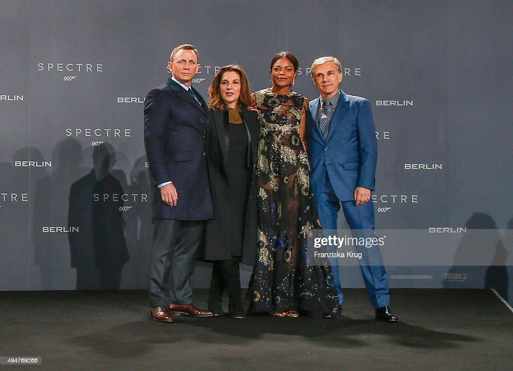 Daniel Craig, Barbara Broccoli, Naomie Harris and Christoph Waltz attend the Spectre' German Premiere on October 28, 2015 in Berlin, Germany.