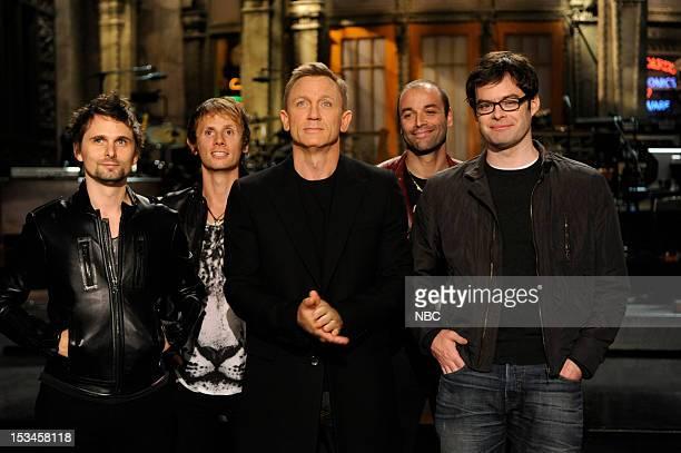 LIVE 'Daniel Craig' Episode 1623 Pictured Matthew Bellamy Dominic Howard of Muse Daniel Craig Christopher Wolstenholme of Muse Bill Hader