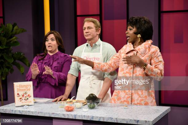 LIVE Daniel Craig Episode 1782 Pictured Aidy Bryant as Deirdre host Daniel Craig as Chef Clyde and Ego Nwodim as Cookie La Flute during the Daytime...