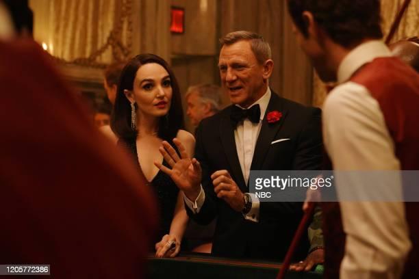LIVE Daniel Craig Episode 1782 Pictured Chloe Fineman and host Daniel Craig during the James Bond Scene sketch on Saturday March 7 2020